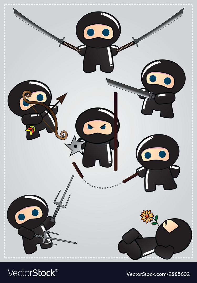 Collection of cute cartoon ninja warriors with vector