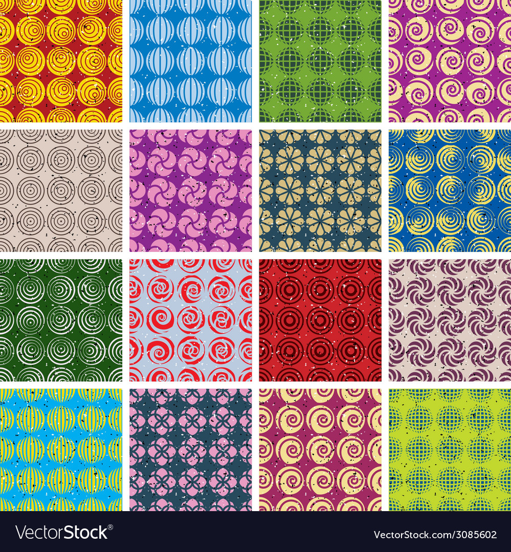 Colorful retro style tiles seamless patterns set vector | Price: 1 Credit (USD $1)