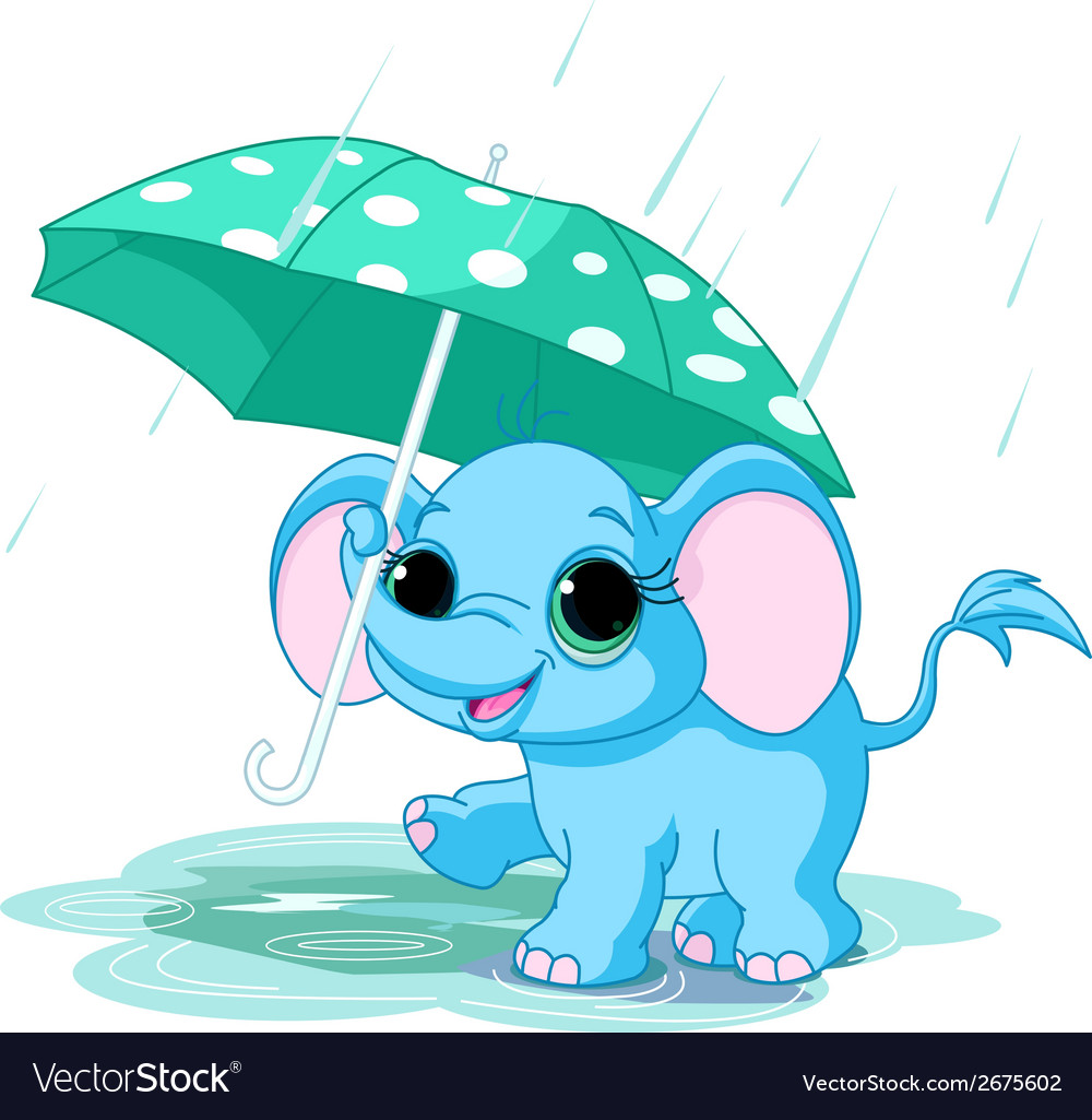 Cute baby elephant under umbrella vector | Price: 3 Credit (USD $3)