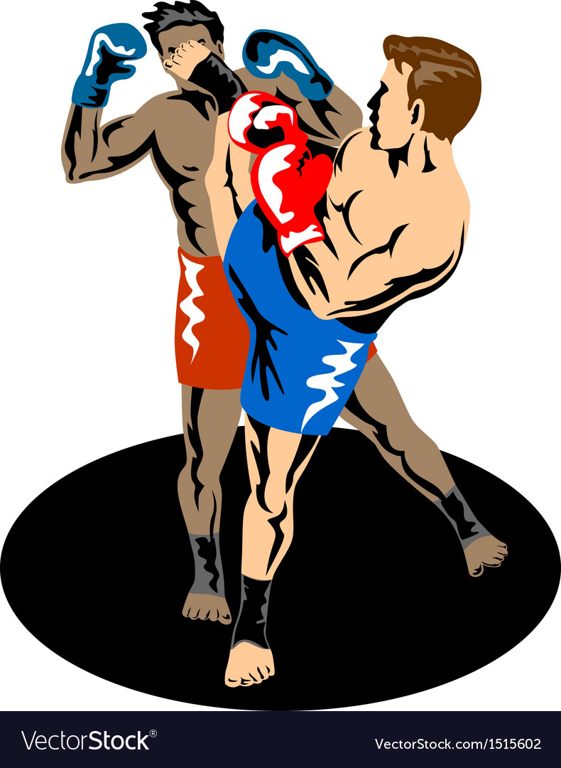 Kickboxer kicking vector | Price: 1 Credit (USD $1)