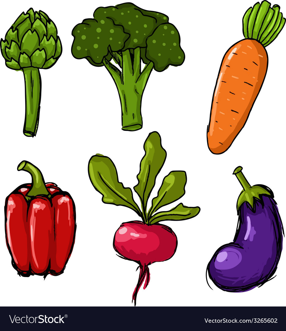 Set of six cute hand drawn vegetables vector | Price: 1 Credit (USD $1)