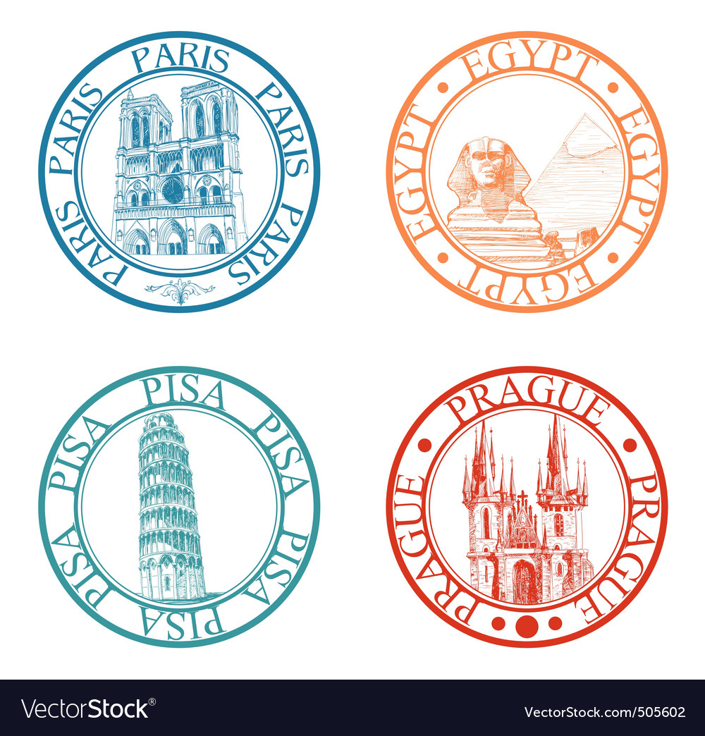 Travel stamps set vector | Price: 1 Credit (USD $1)
