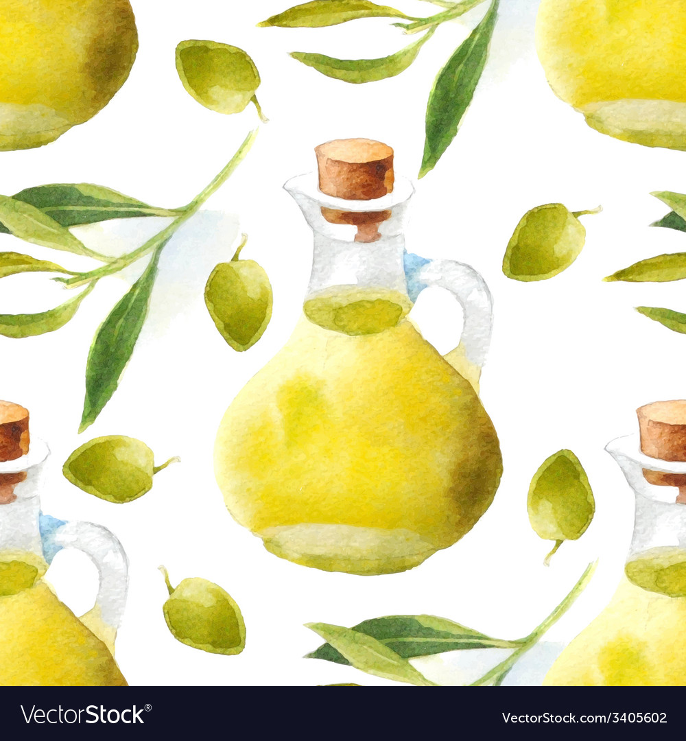 Watercolor olive oil pattern vector | Price: 1 Credit (USD $1)