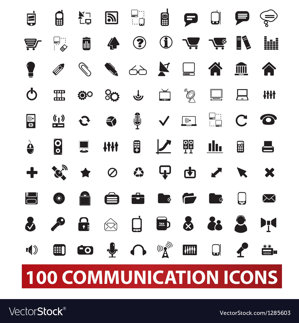100 communication and connection icons set vector | Price: 1 Credit (USD $1)