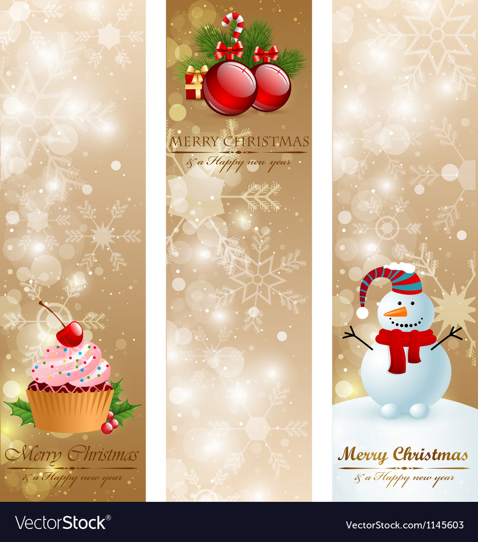 Christmas vintage vertical banners vector | Price: 1 Credit (USD $1)