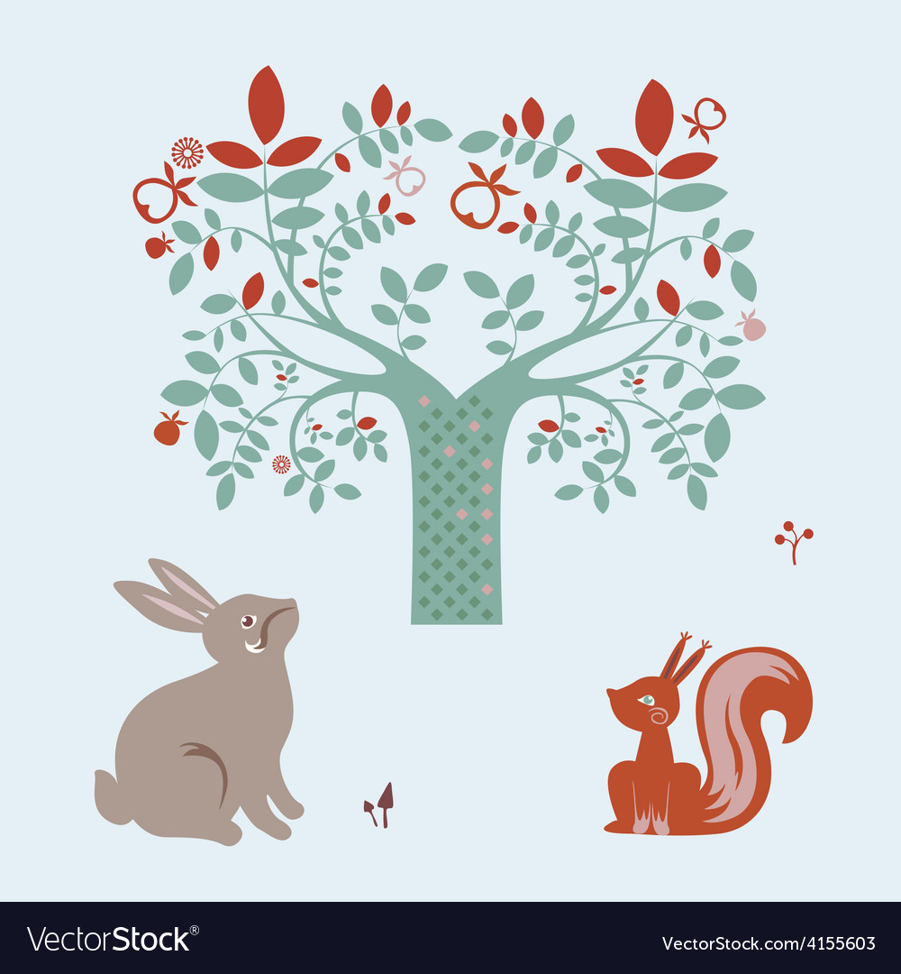 Cute animals and fantasy tree vector | Price: 1 Credit (USD $1)