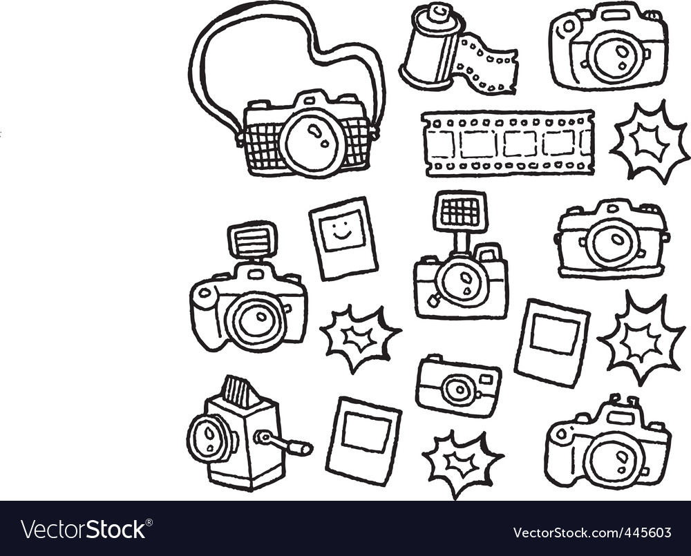 Doodle cameras vector | Price: 1 Credit (USD $1)