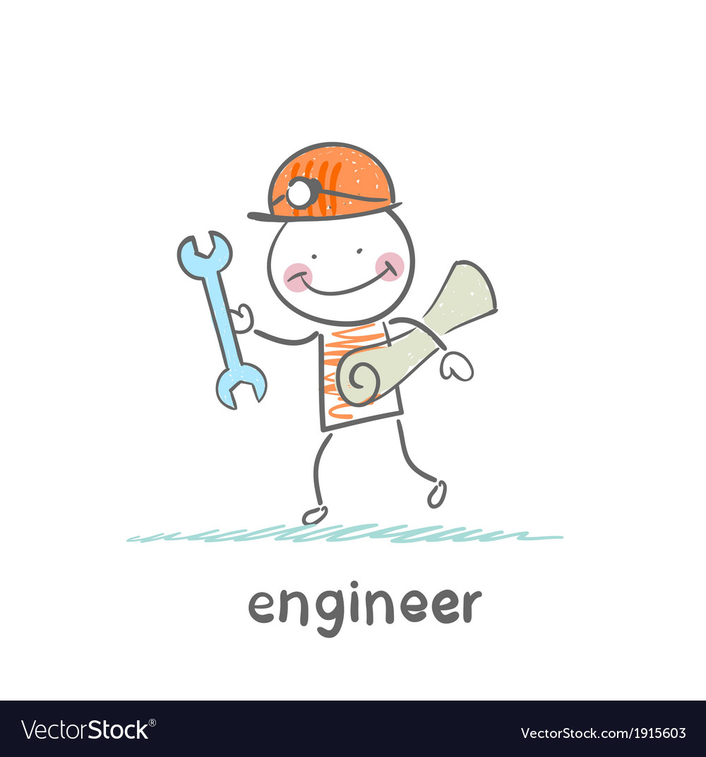 Engineer comes with a key and paper vector | Price: 1 Credit (USD $1)