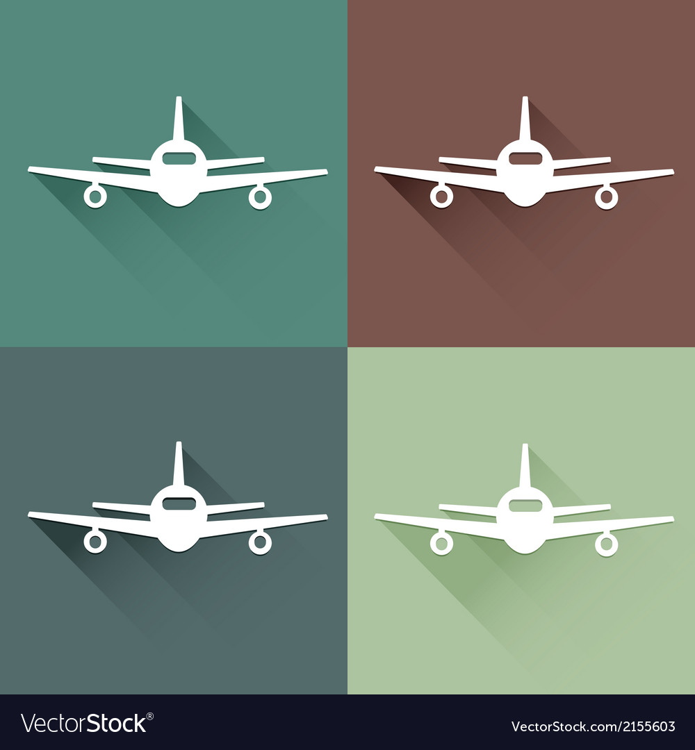 Flat long shadow air plane vector | Price: 1 Credit (USD $1)