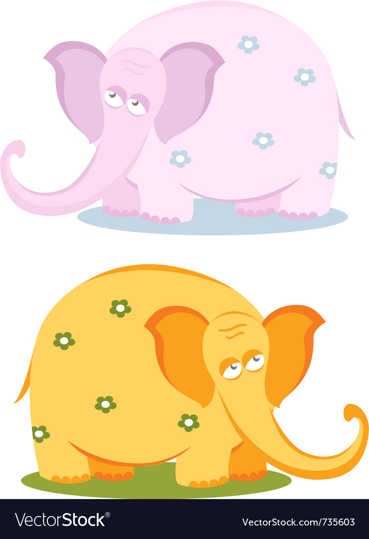 Funny pink elephants vector | Price:  Credit (USD $)
