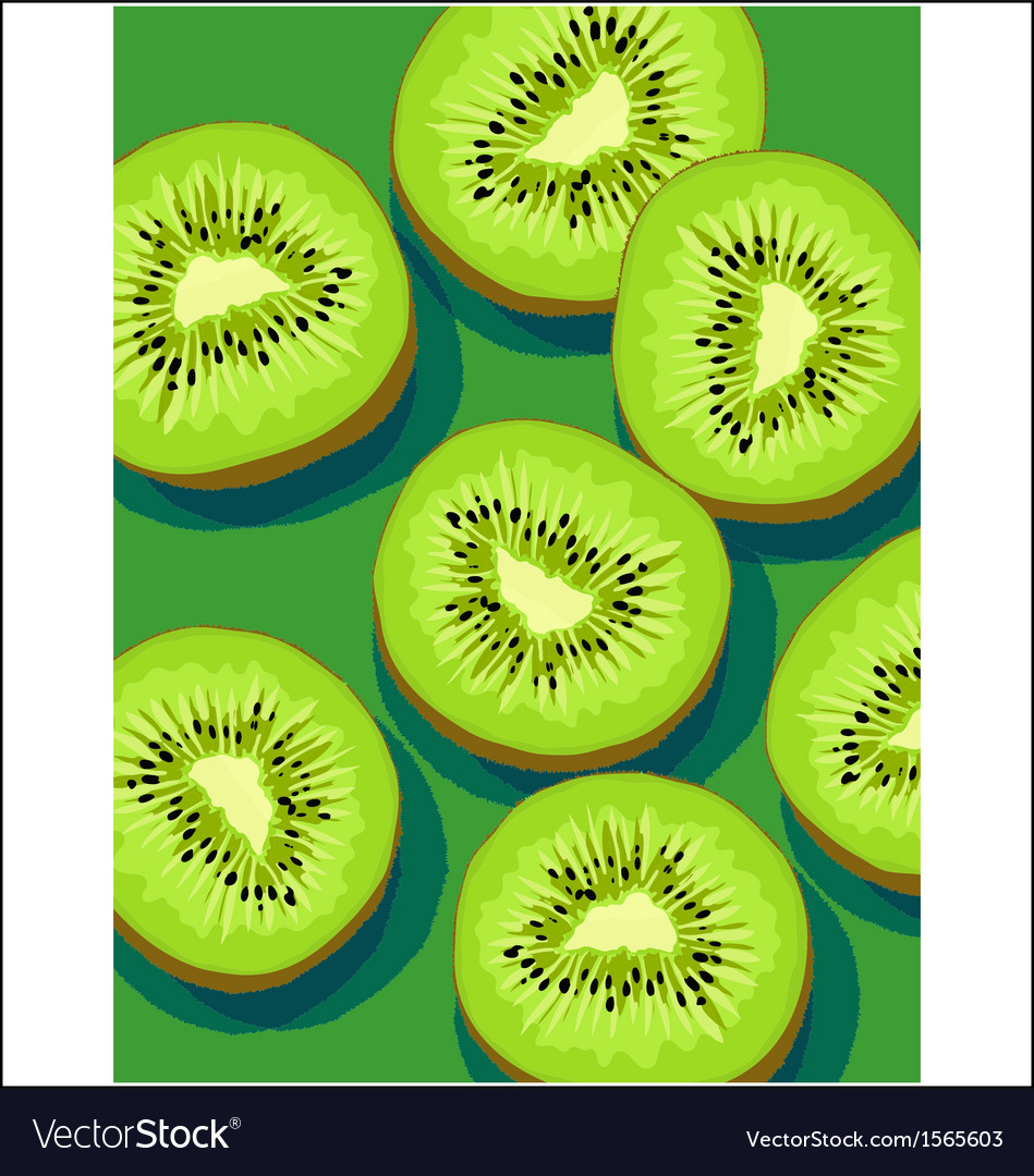 Kiwis on green vector | Price: 3 Credit (USD $3)