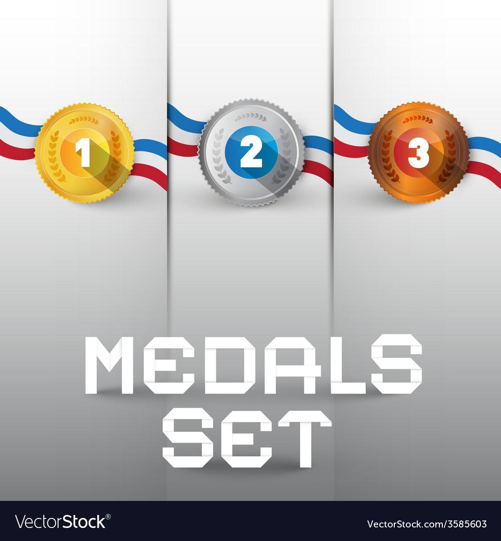 Medals set vector | Price: 1 Credit (USD $1)