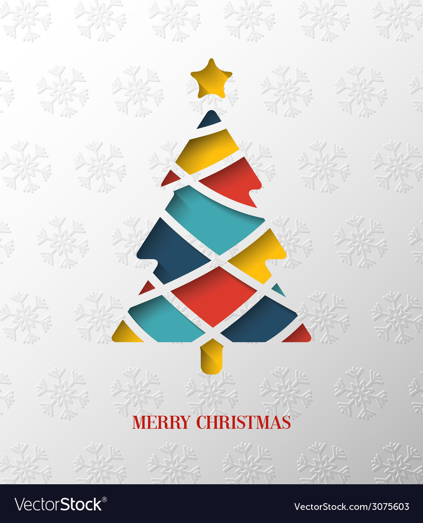 Paper colorful christmas tree vector | Price: 1 Credit (USD $1)