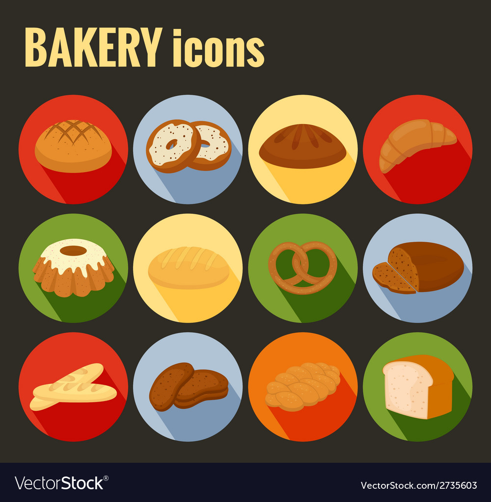 Set of colored bakery icons vector | Price: 1 Credit (USD $1)