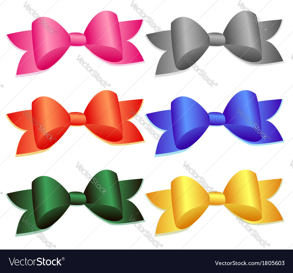 Set of colorful bows vector | Price: 1 Credit (USD $1)