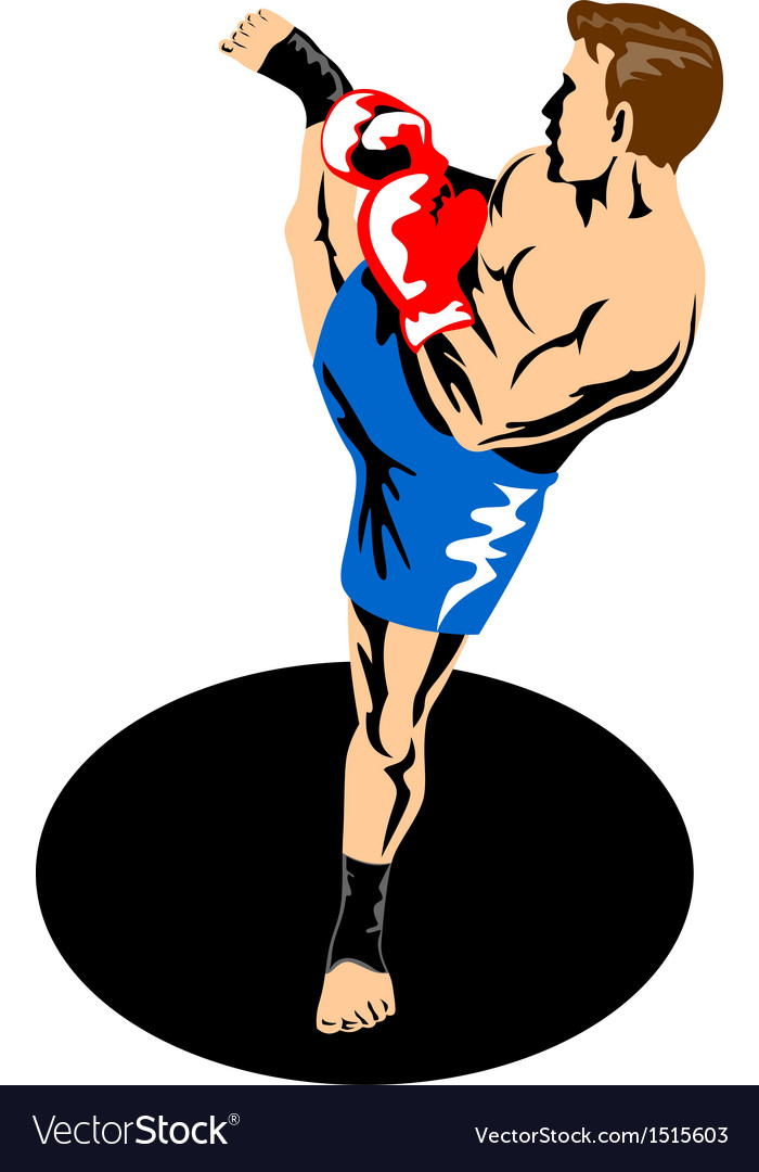 Single kickboxer kicking vector | Price: 1 Credit (USD $1)