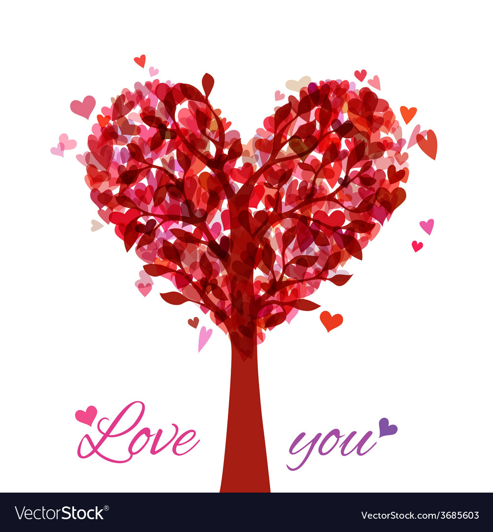 Tree in the shape of heart isolated on white vector | Price: 1 Credit (USD $1)