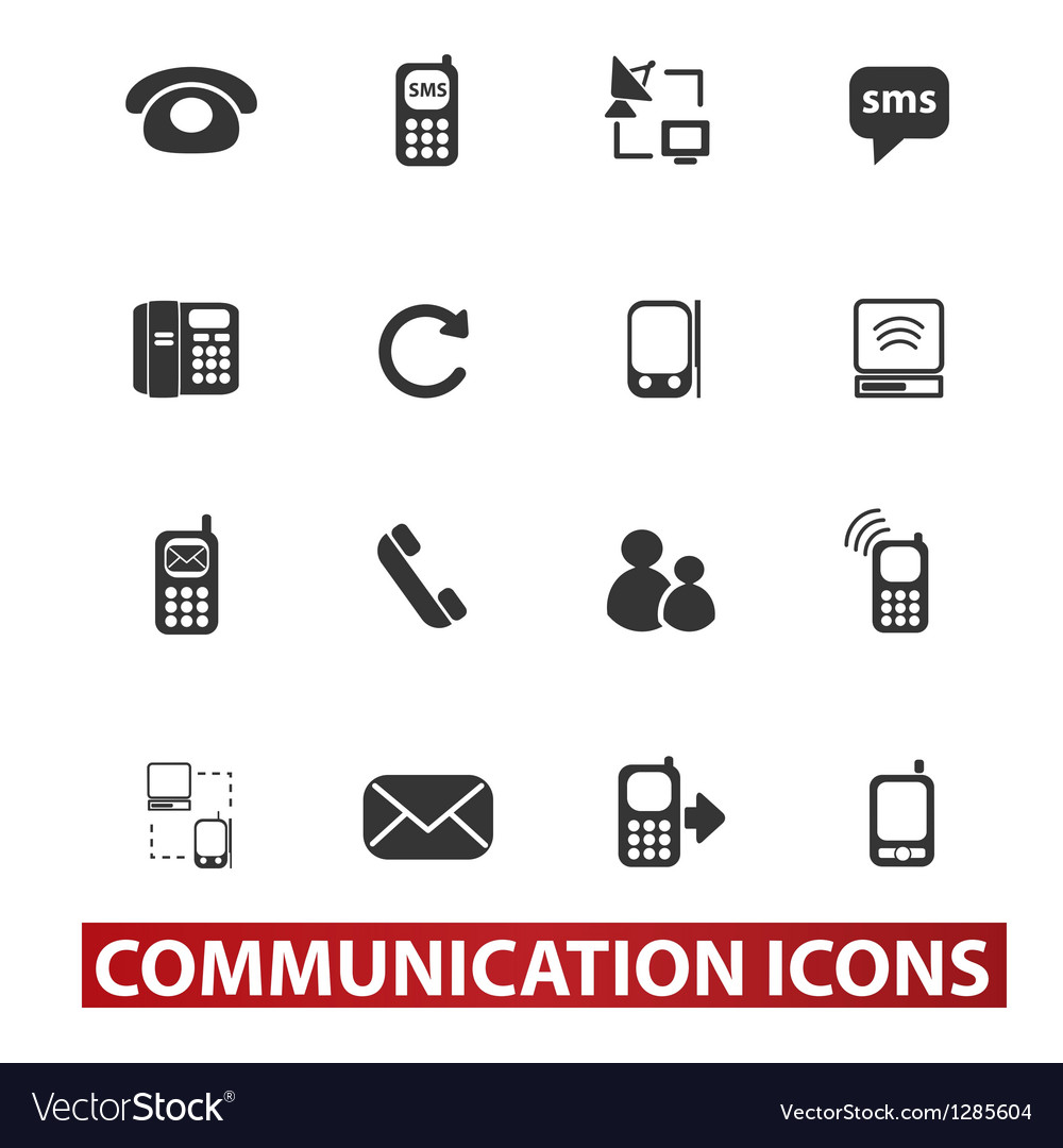 20 communication signs icons set vector | Price: 1 Credit (USD $1)