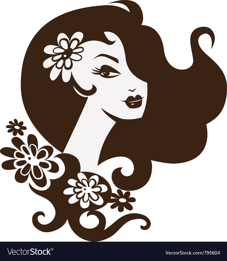 Beautiful woman with a flowers vector | Price: 1 Credit (USD $1)