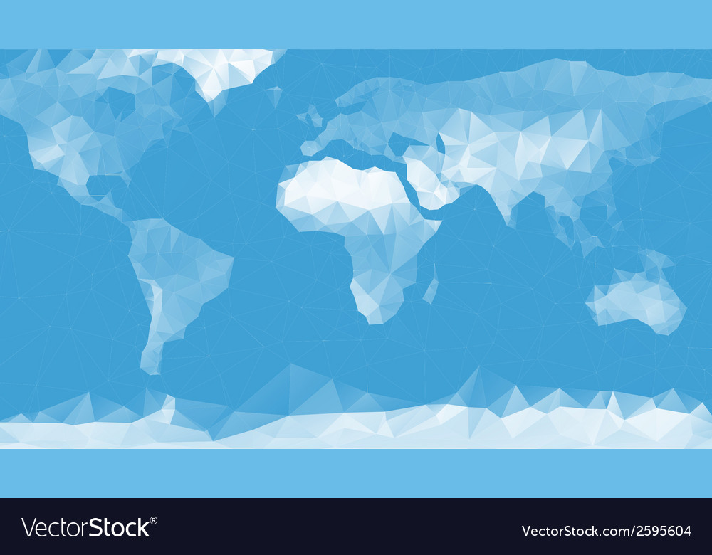 Blue world map background in polygonal style vector | Price: 1 Credit (USD $1)