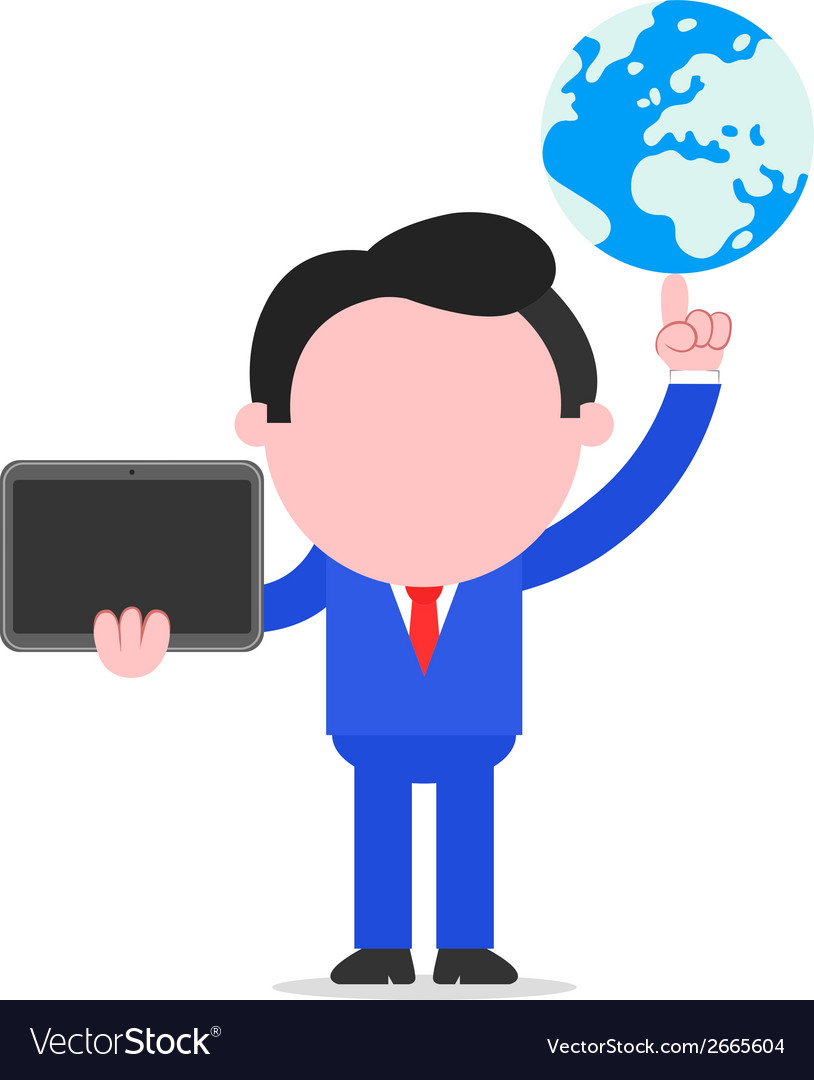Businessman holding globe and tablet vector | Price: 1 Credit (USD $1)