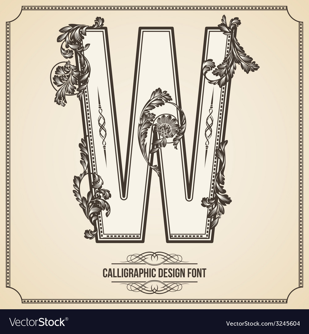 Calligraphic font letter w vector | Price: 1 Credit (USD $1)