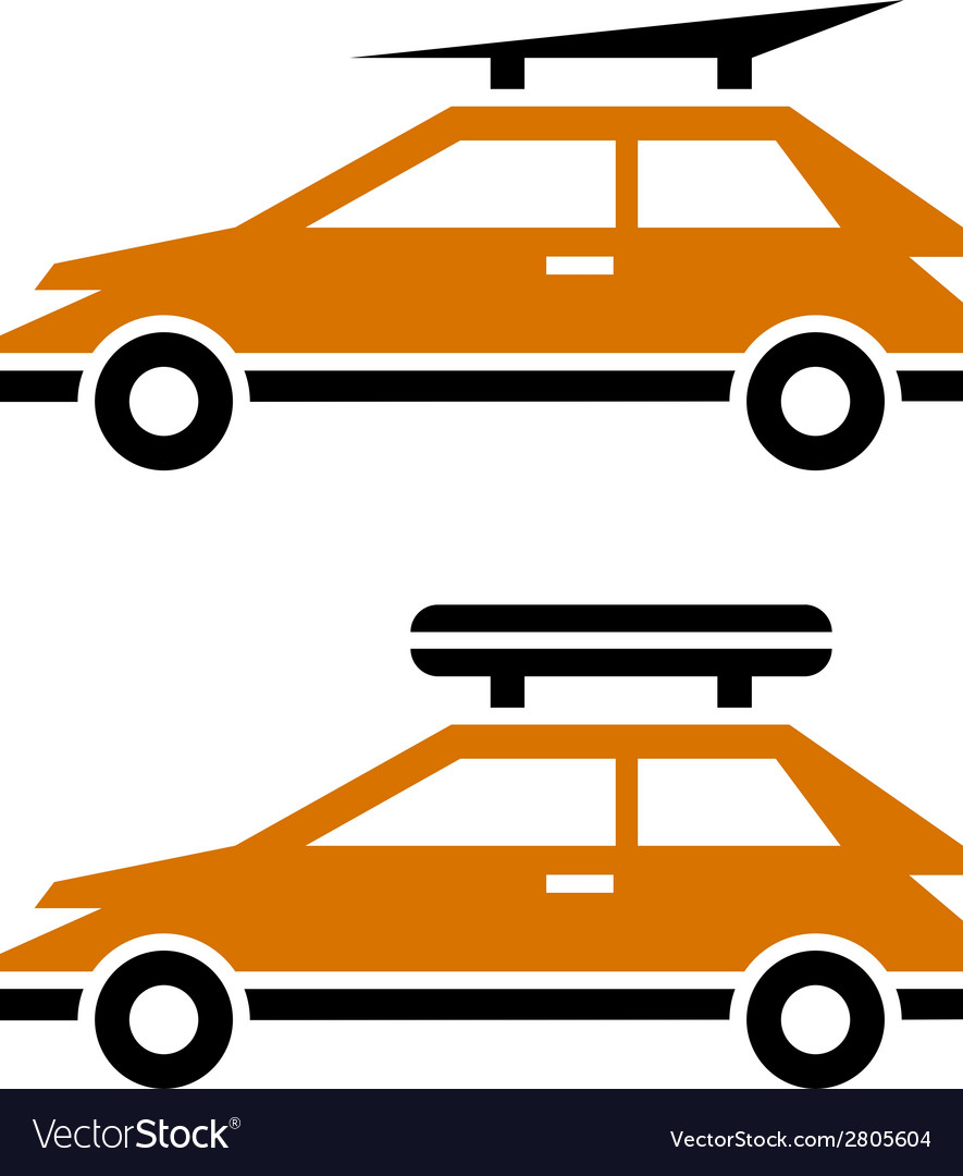Car with luggage roof rack icon vector | Price: 1 Credit (USD $1)