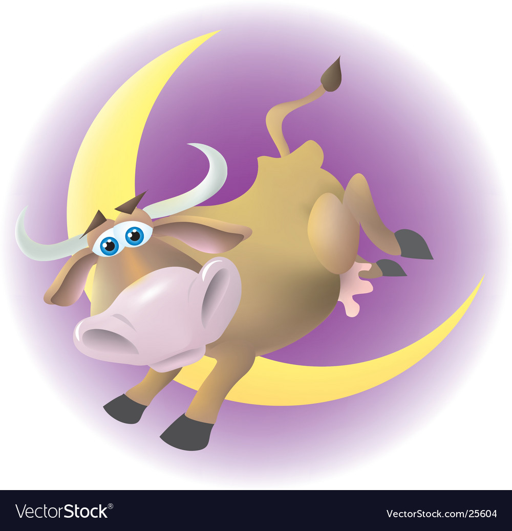 Cow jumped over the moon vector | Price:  Credit (USD $)