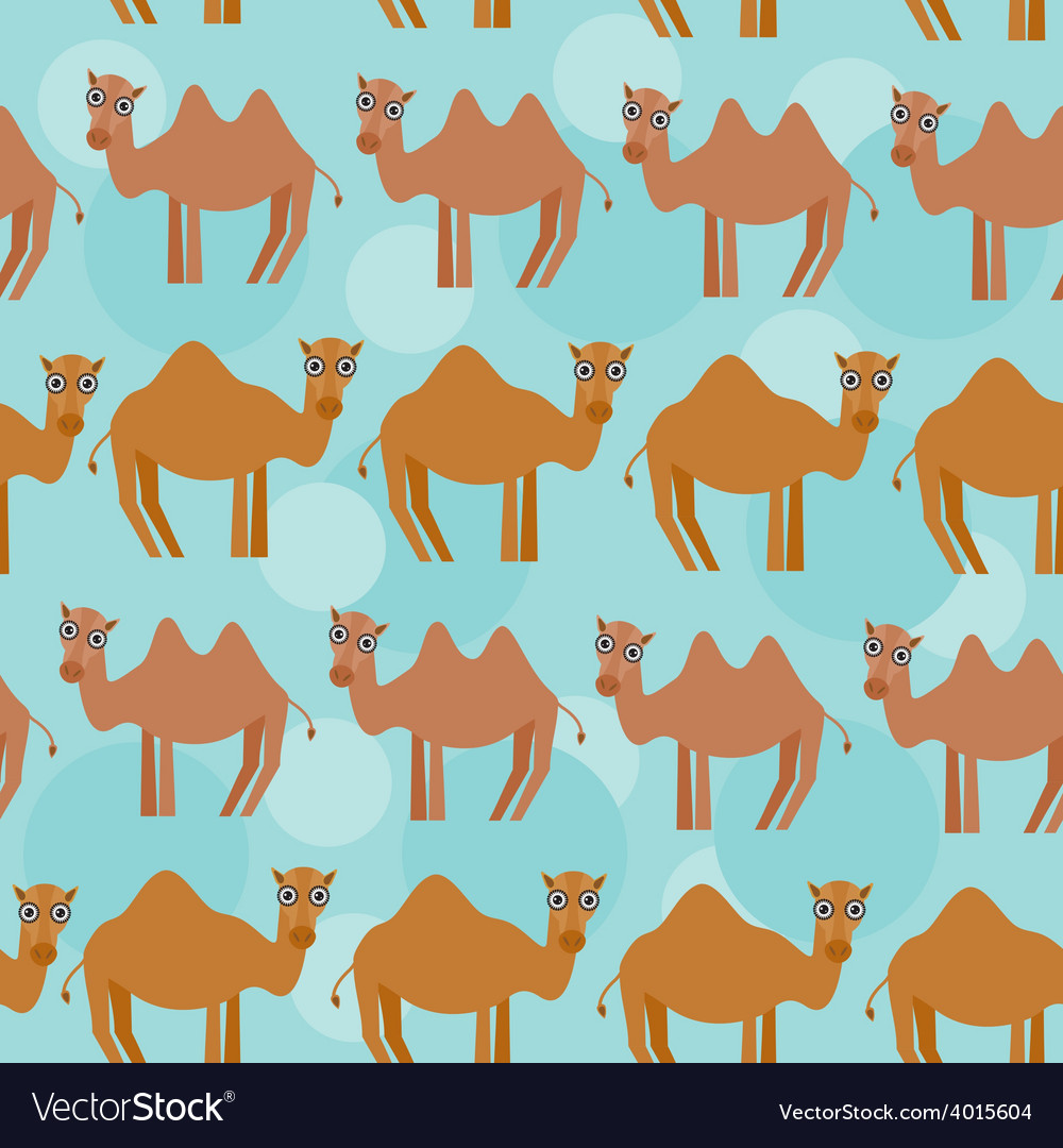 Funny camel seamless pattern with cute animal on a vector