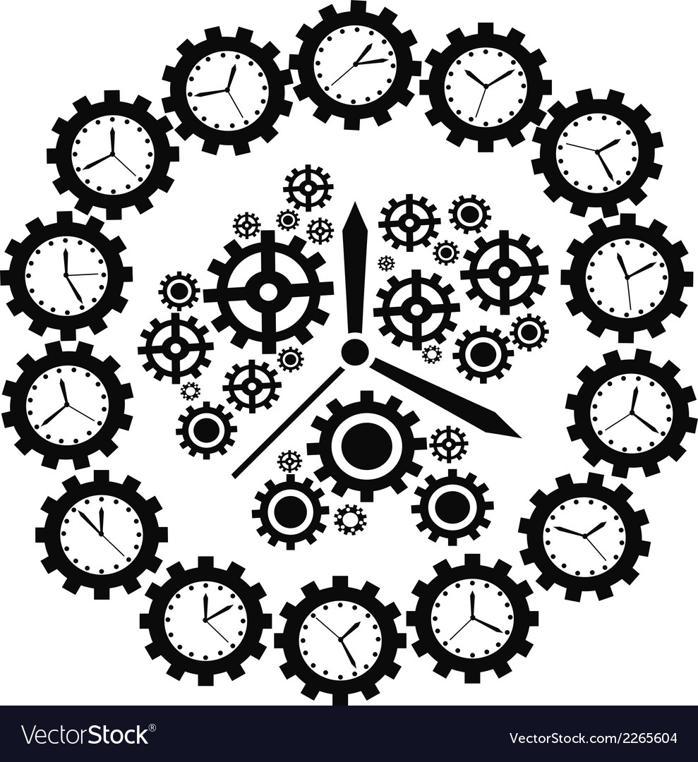 Gear clock vector | Price: 1 Credit (USD $1)