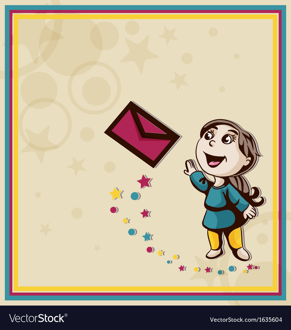 Postcard with girl and letter vector | Price: 1 Credit (USD $1)