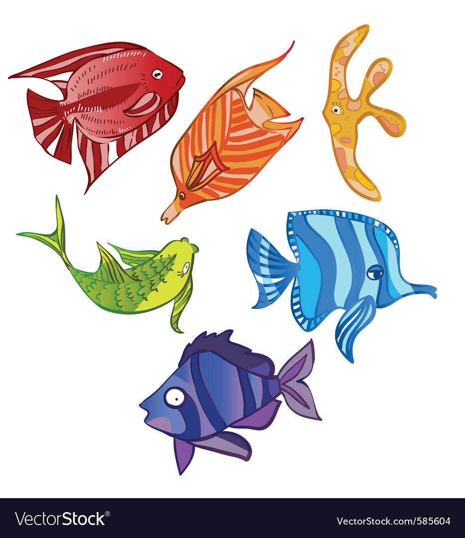 Rainbow emotional fish vector | Price: 1 Credit (USD $1)