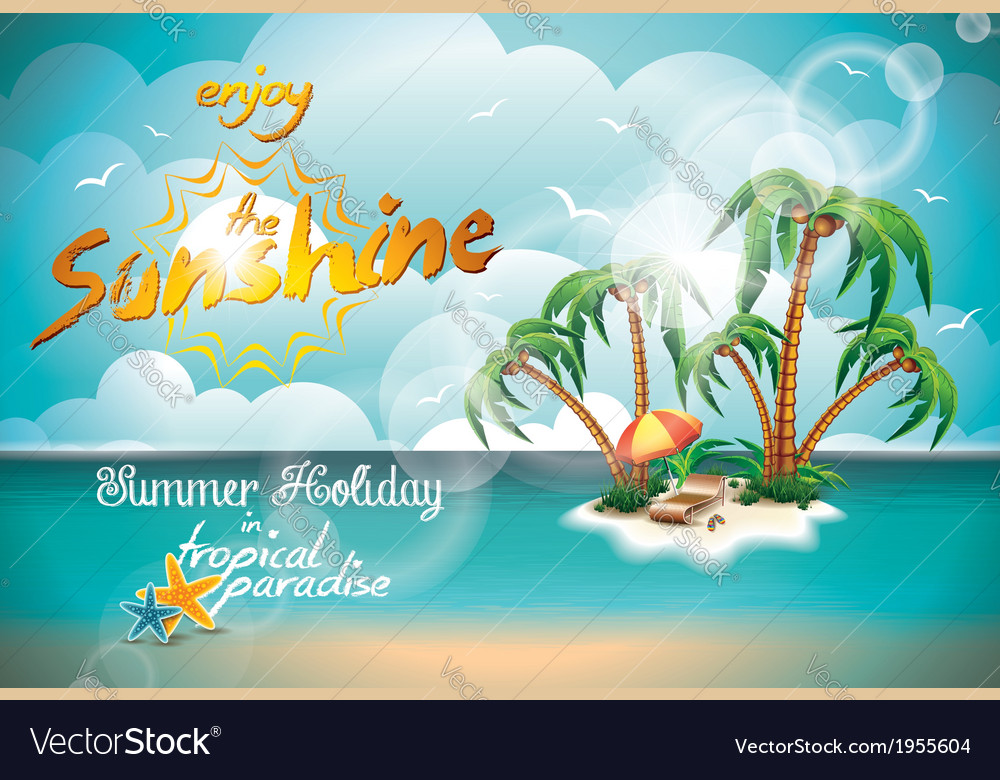 Summer holiday design with paradise island vector | Price: 3 Credit (USD $3)