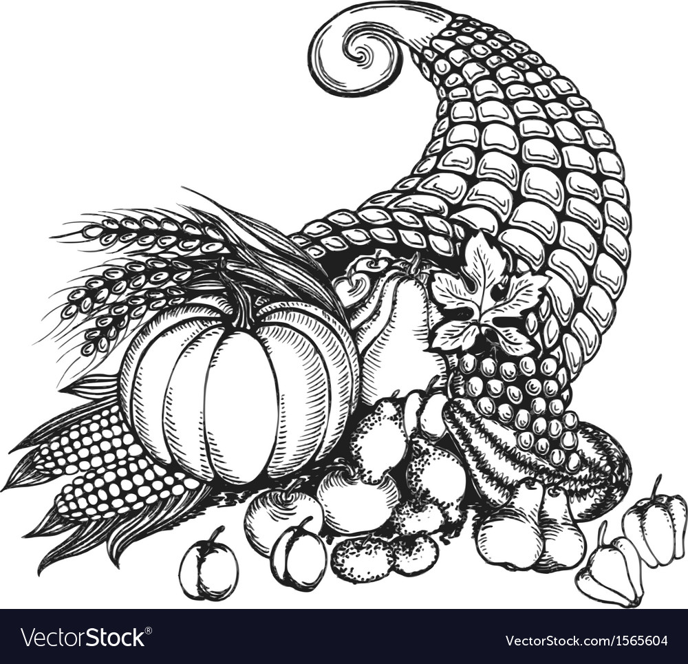 Thanksgiving cornucopia full of harvest fruits and vector | Price: 1 Credit (USD $1)