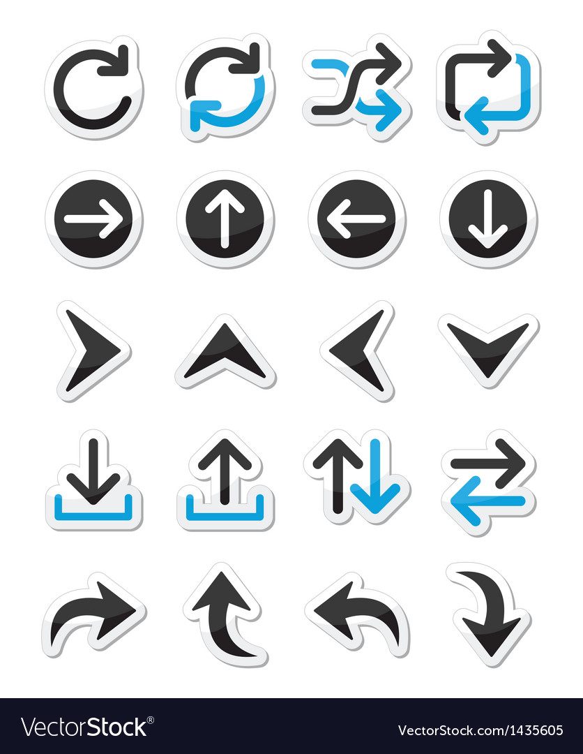 Arrow icon sets isolated on white vector | Price: 1 Credit (USD $1)
