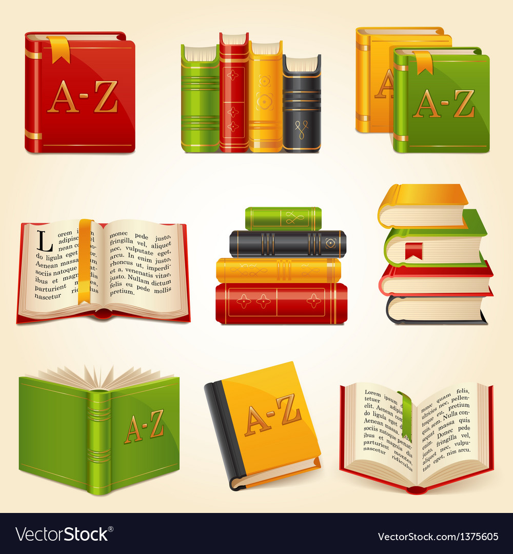 Book icons set vector | Price: 3 Credit (USD $3)
