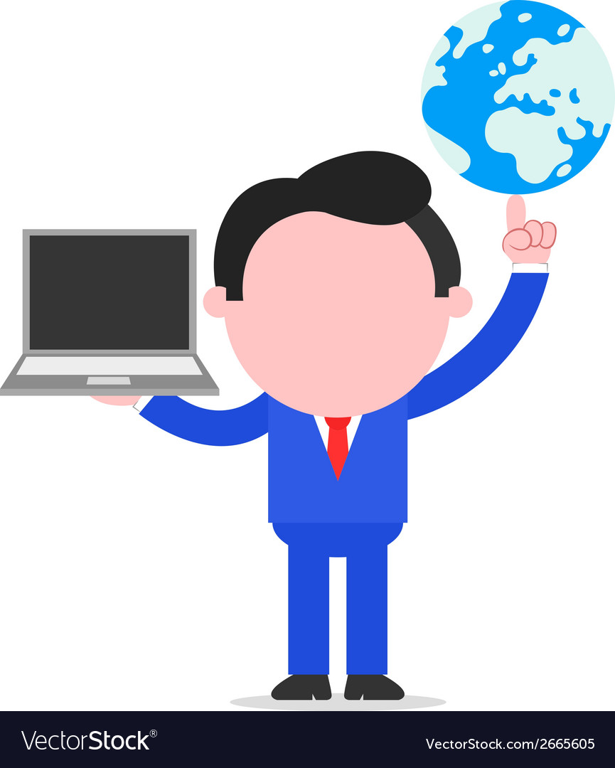 Businessman holding globe and laptop vector | Price: 1 Credit (USD $1)