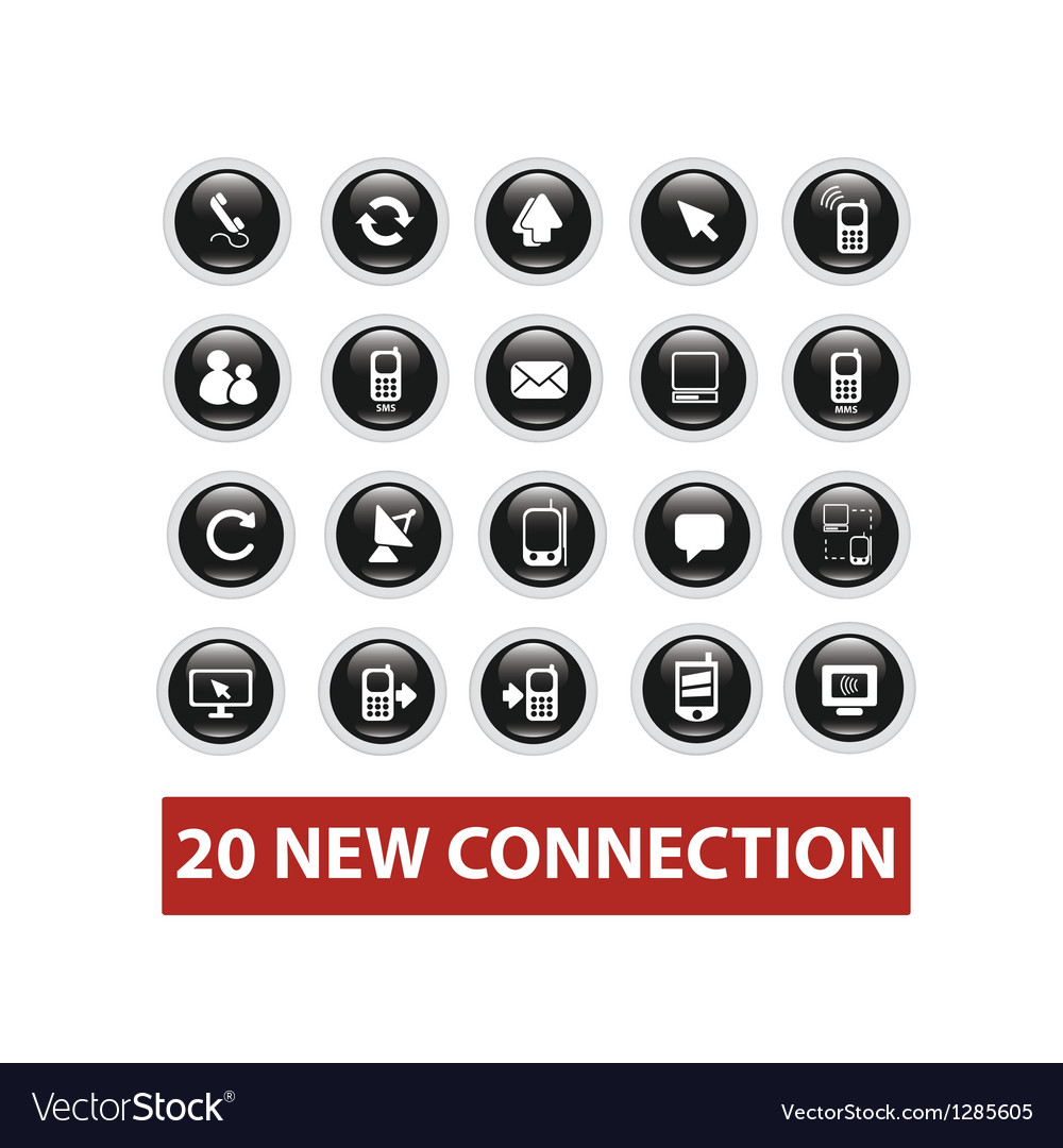 Connection buttons set vector | Price: 1 Credit (USD $1)