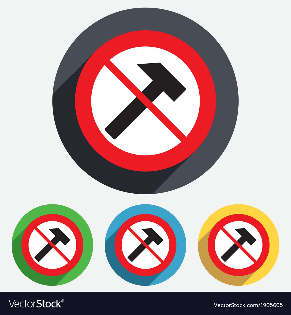 Do not repair hammer sign icon repair service vector | Price: 1 Credit (USD $1)
