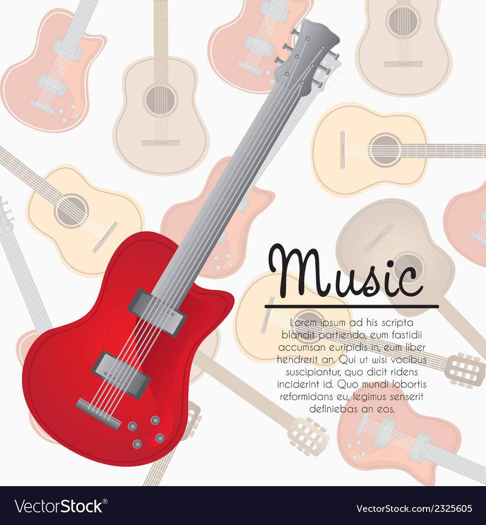 Electric guitar background of pattern of guitars vector | Price: 1 Credit (USD $1)