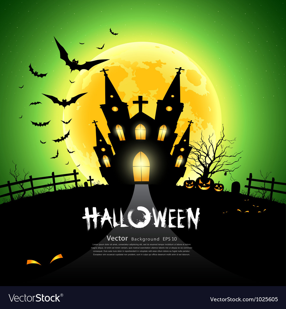 Happy halloween green background vector | Price: 3 Credit (USD $3)