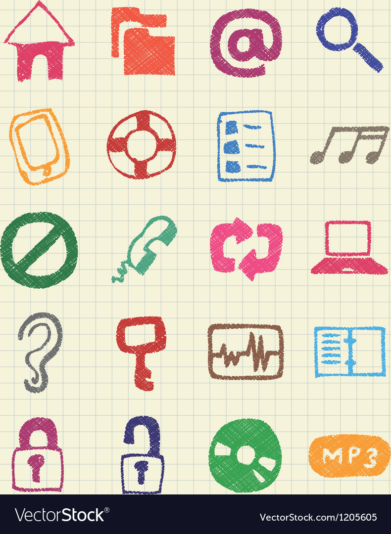 Internet and media icons set vector | Price: 1 Credit (USD $1)