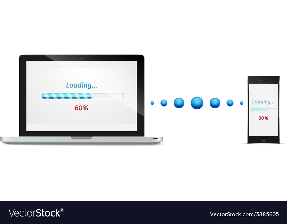 Laptop mobile phone file transfer concept vector | Price: 1 Credit (USD $1)
