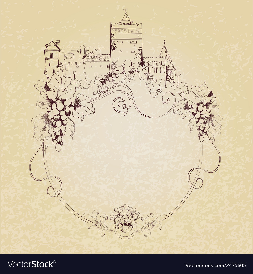 Sketch castle background vector | Price: 1 Credit (USD $1)
