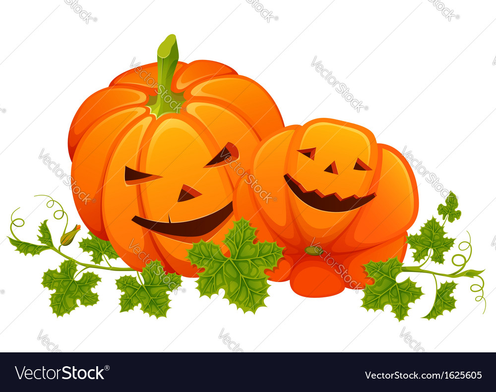 Two bright orange smiling pumpkins with leaves on vector | Price: 1 Credit (USD $1)