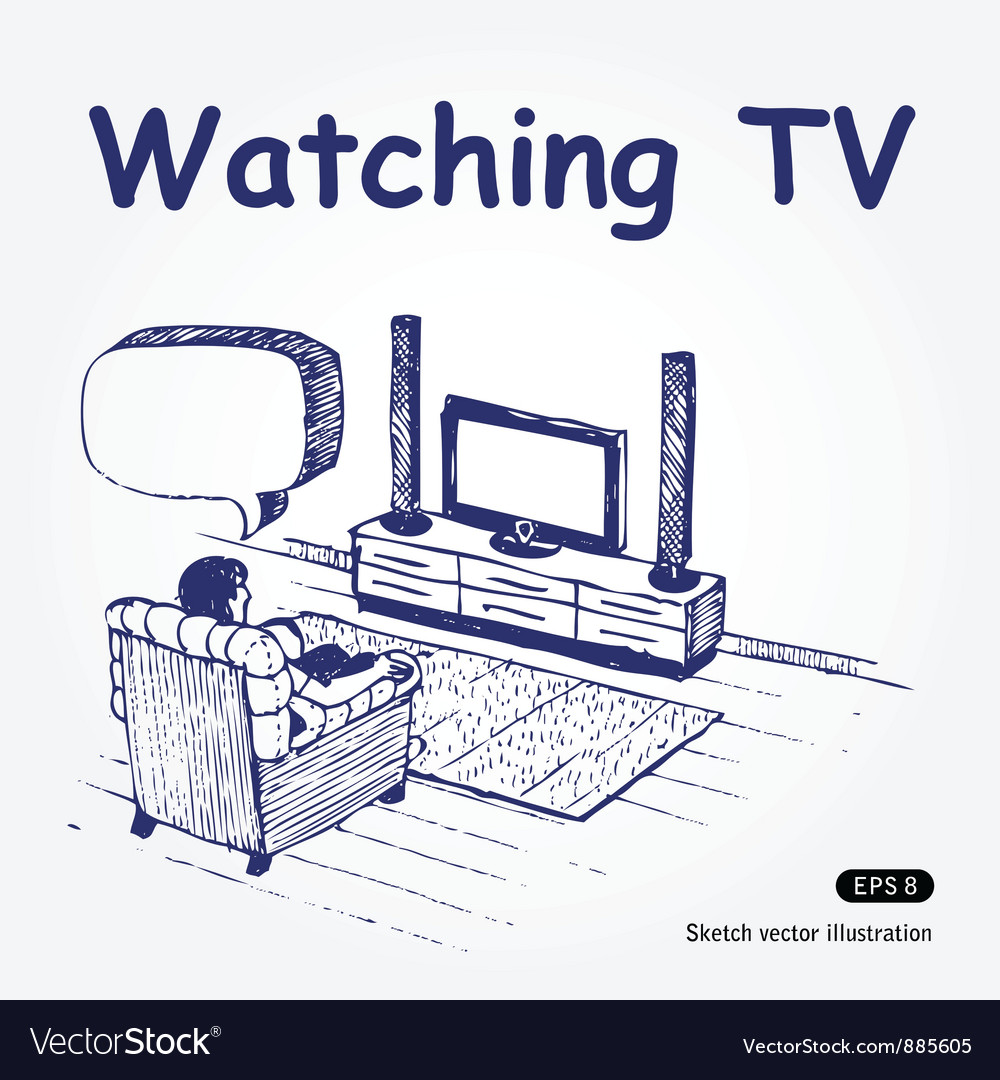 Watching tv vector | Price: 1 Credit (USD $1)