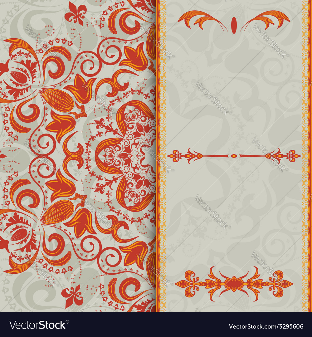 Beautiful invitation card with bright floral vector | Price: 1 Credit (USD $1)