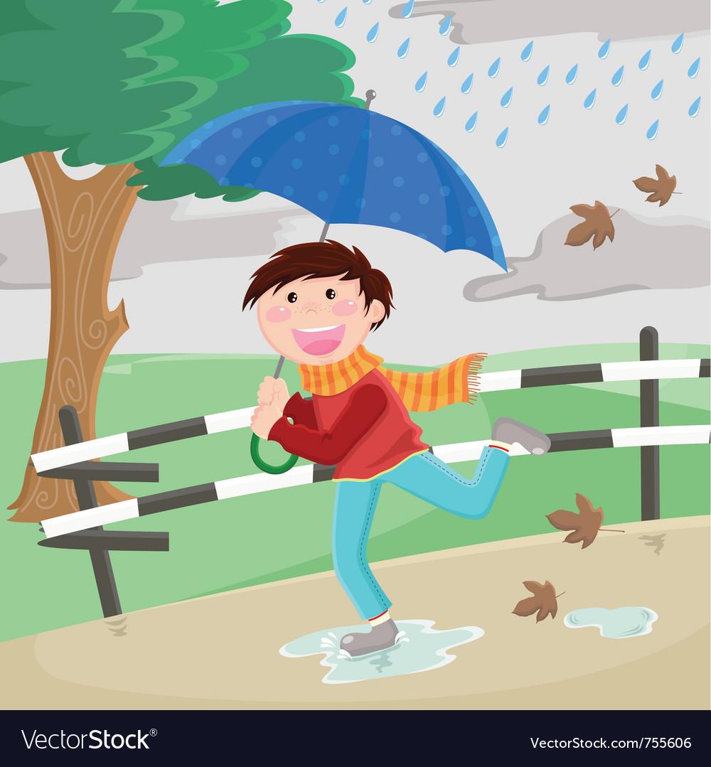 Boy in the rain vector | Price: 1 Credit (USD $1)