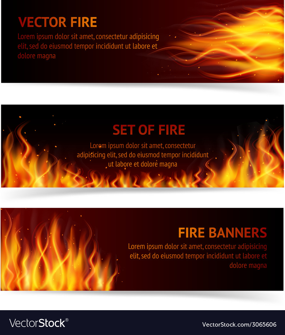 Flame banner set vector | Price: 1 Credit (USD $1)