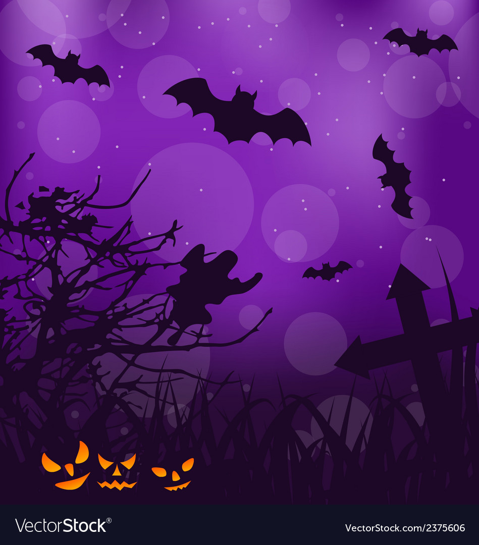Halloween ominous background with pumpkins bats vector | Price: 1 Credit (USD $1)